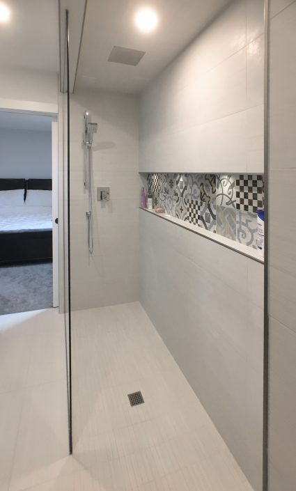 ensuite renovations with white tiled shower