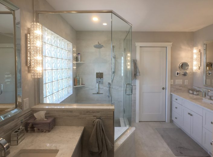 bathroom renovation with custom tiled shower and floor