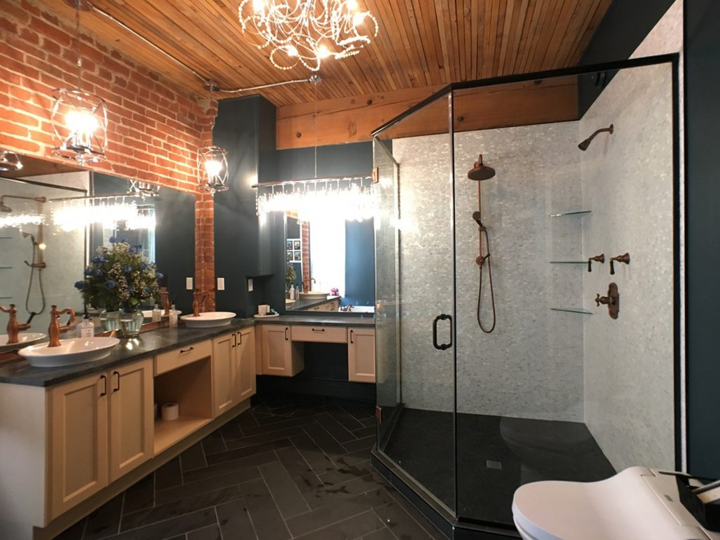 mother of pearl shower slate floor in ensuite renovation