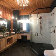 mother of pearl shower slate floor in bathroom renovation