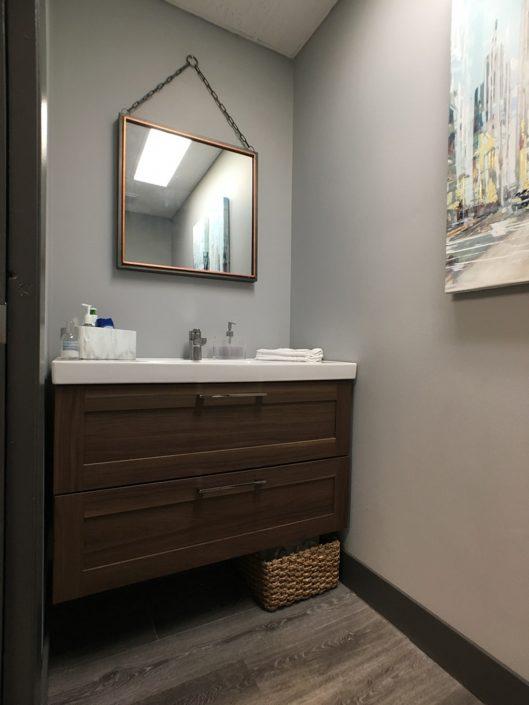 commercial renovations ikea vanity grey walls