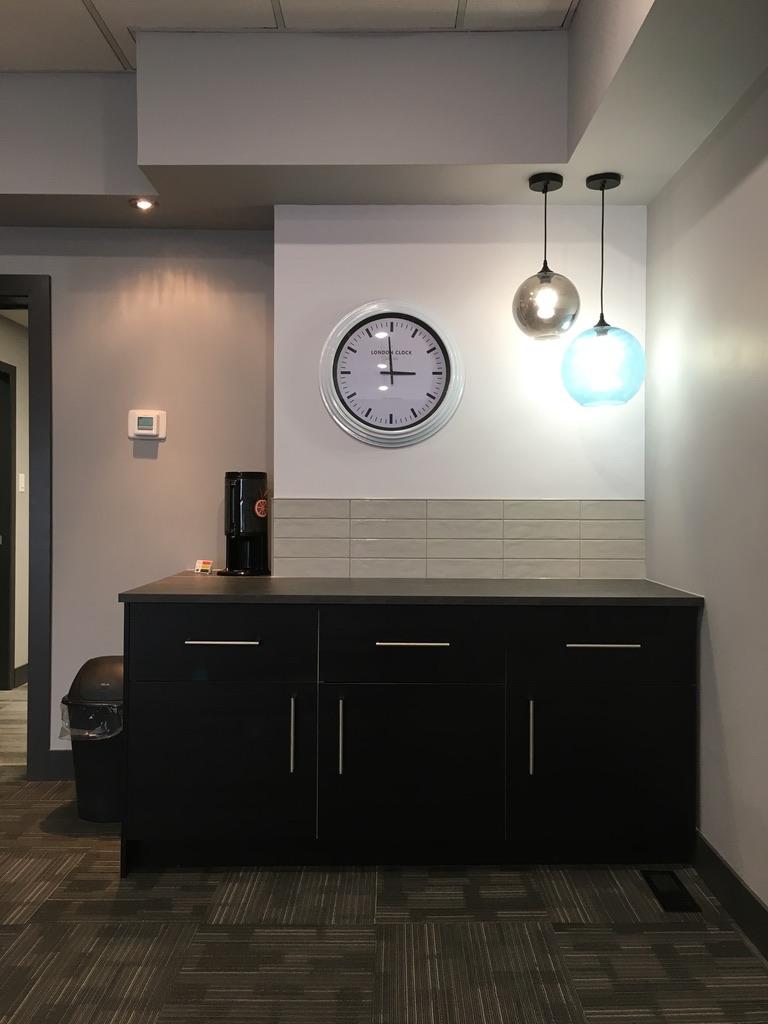 meeting room coffee bar with lighting