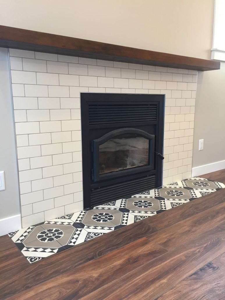 cement tile subway tile fireplace surround