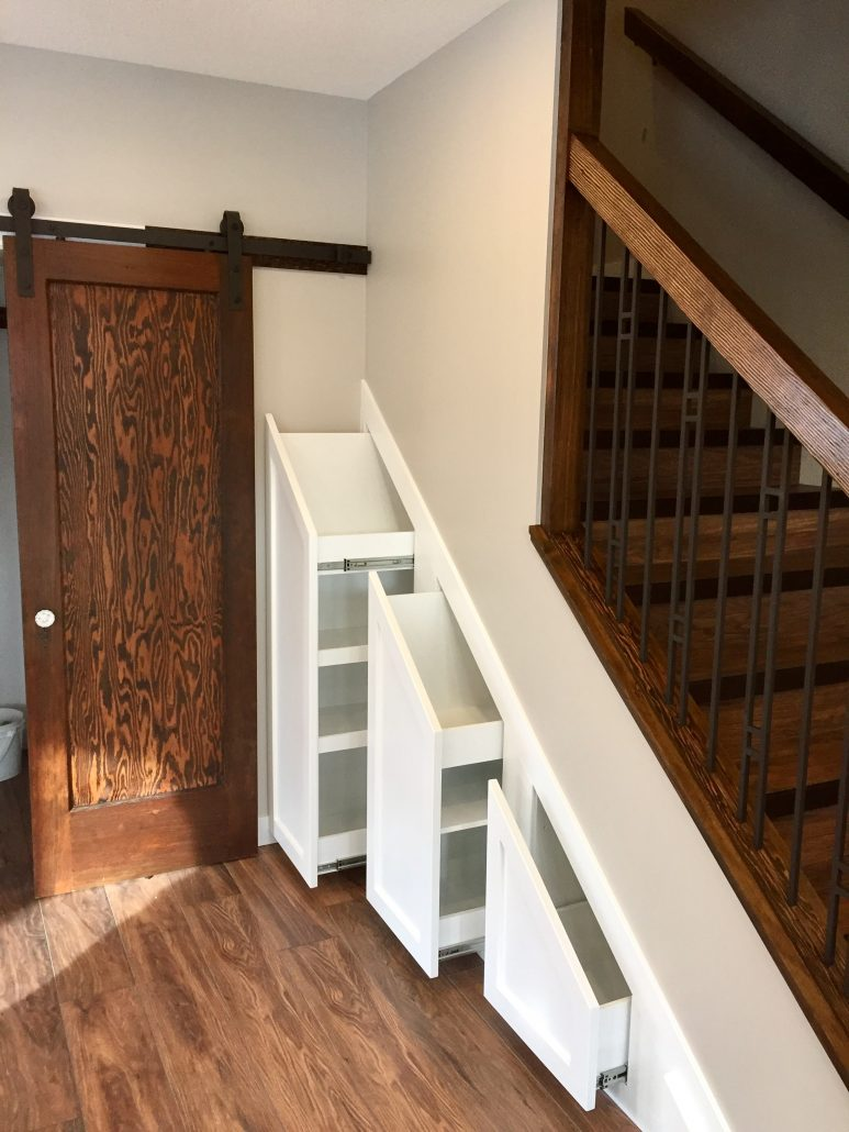stair storage barn door