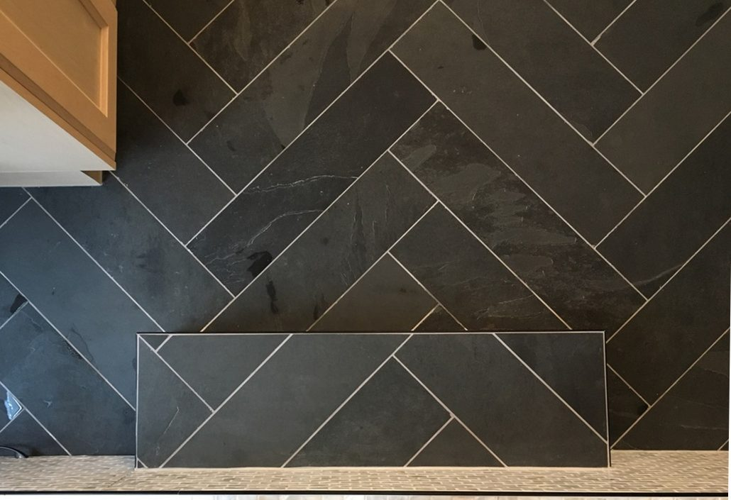 slate herringbone tile ensuite renovation