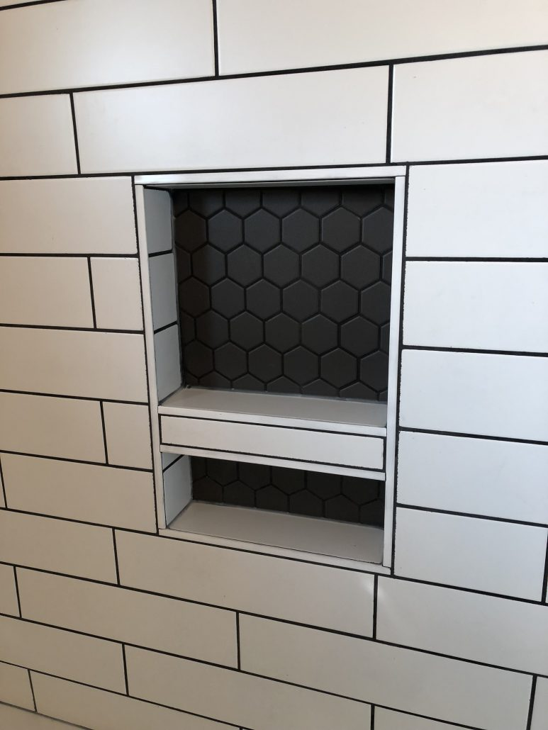 black and white bathroom renovation niche