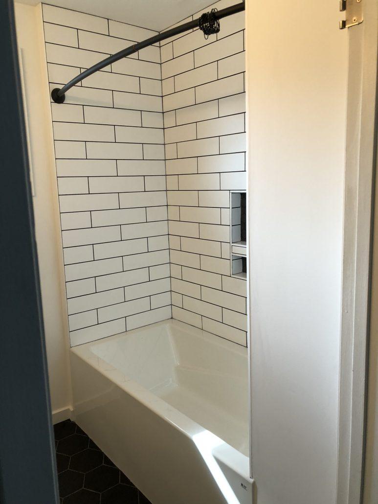 black and white bathroom renovation shower