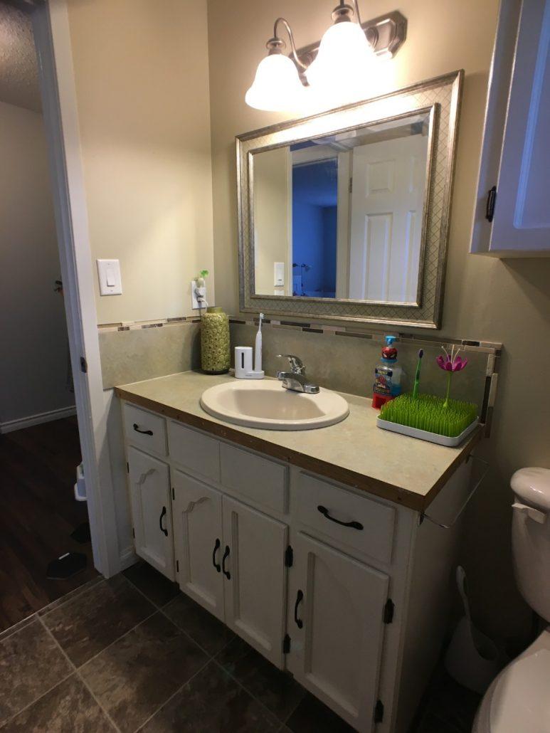 black and white bathroom renovation before