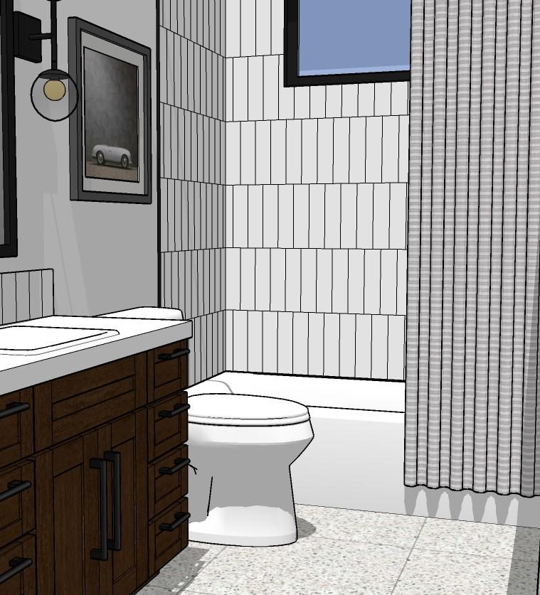 3D design model modern bathroom