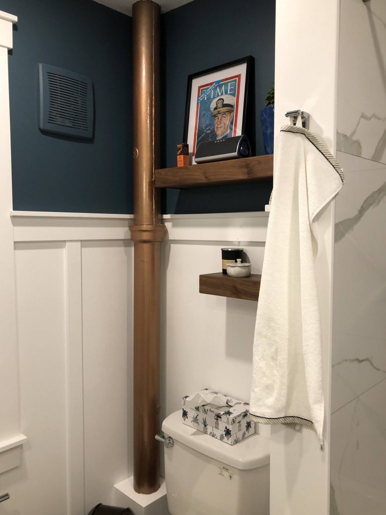 walnut shelves and copper stack