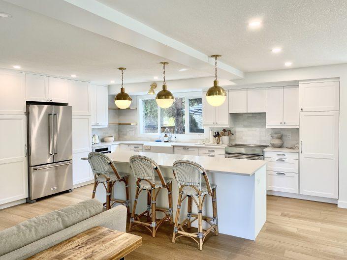 white kitchen gold lights