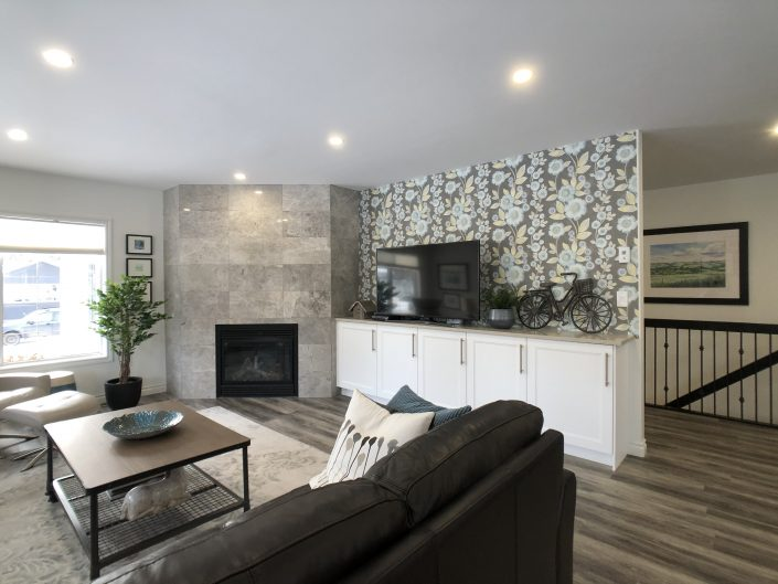 media unit and tile fireplace