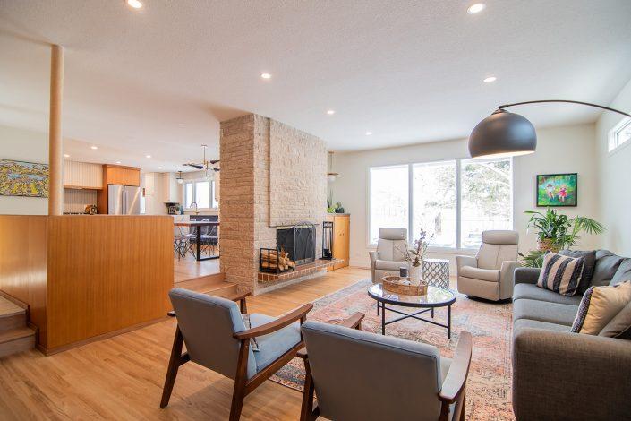 mid century modern living room renovation
