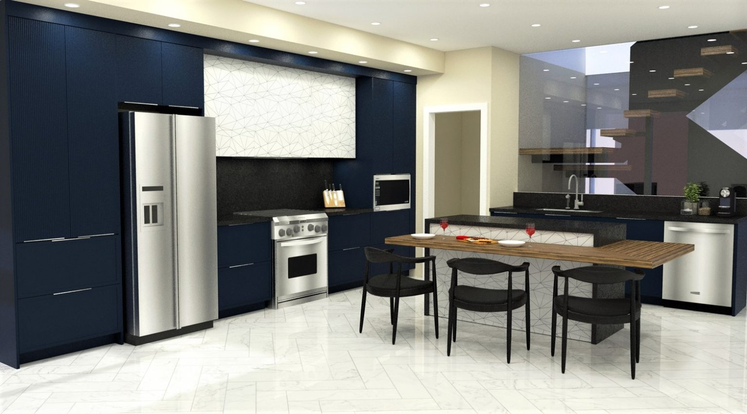 blue kitchen design regina