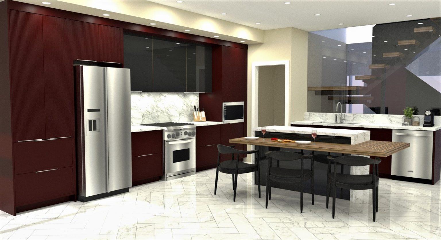 red kitchen design regina